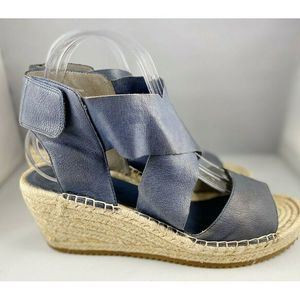 EUC✨Eileen Fisher Blue Leather Willow Espadrille 9